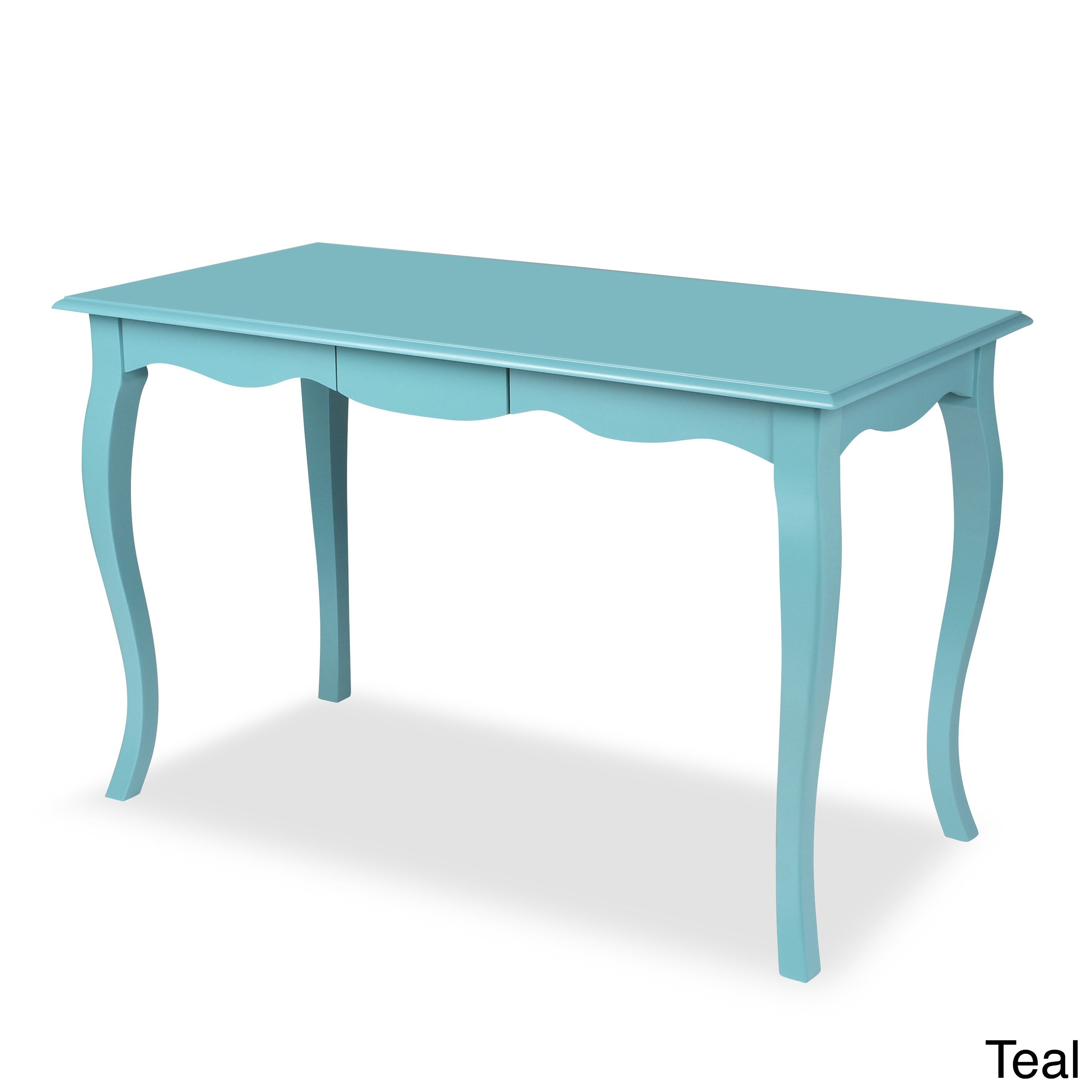 Palermo White/Blue Wood Writing Table and Computer Desk w...