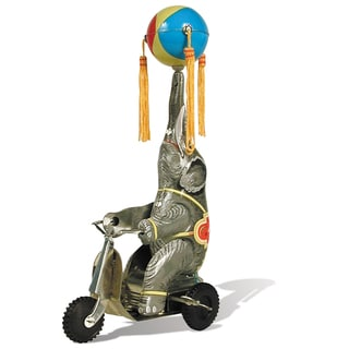 Schylling Tin 10-inch Wind-up Elephant On Bike