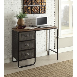 Locker Collection Grey/Brown Metal/Wood Desk
