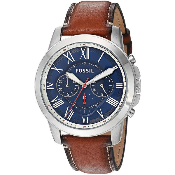 0a555a8970fd1 Shop Fossil Men s FS5210  Grant  Chronograph Brown Leather Watch - Free  Shipping Today - Overstock - 12506612