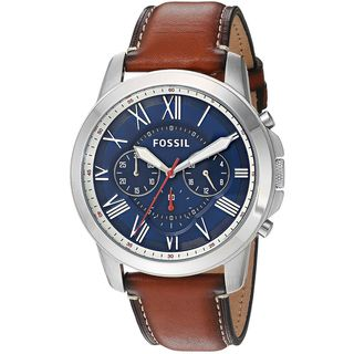 Fossil Men's FS5210 'Grant' Chronograph Brown Leather Watch