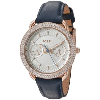 Fossil Women's ES4052 'Tailor' Multi-Function Crystal Blue Leather Watch