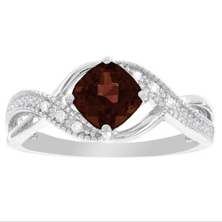 H Star Sterling Silver Cushion-cut Garnet and Diamond Accent Ring (I-J, I2-I3)