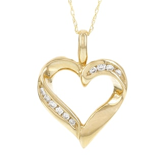 H Star 14k Yellow Gold 1/8ct TDW Diamond Heart Pendant (I-J, I2-I3)