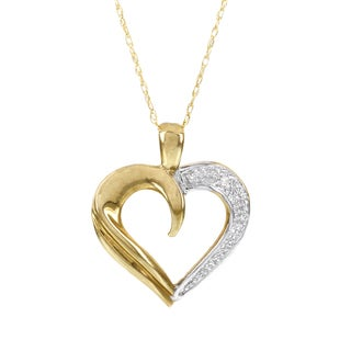 H Star 10k Yellow Gold Diamond Accent Heart Necklace (I-J, I2-I3)