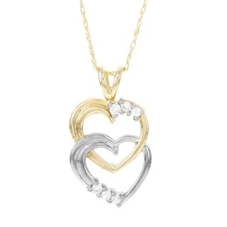 H Star 10k Yellow and White Gold 1/10ct TDW Diamond Hearts Pendant (I-J, I2-I3)