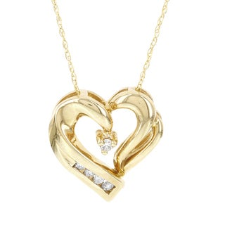 H Star 14k Yellow Gold 1/10ct TDW Diamond Heart Pendant (I-J, I2-I3)