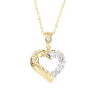 H Star 10k Yellow Gold 1/10ct TDW Diamond Mini Heart Pendant (I-J, I2-I3)