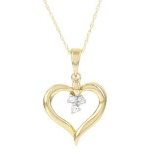 H Star 14k Yellow Gold Diamond Accent Heart Pendant (I-J, I2-I3)