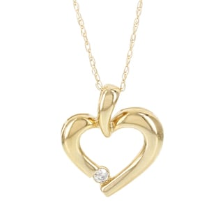 H Star 14k Yellow Gold Diamond Accent Heart Pendant (I-J, I2-I3)