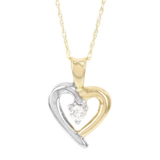 H Star 14k Yellow and White Gold Diamond Accent Heart Pendant (I-J, I2-I3)