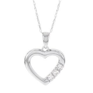 H Star 14k White Gold 1/10ct TDW Diamond Heart Pendant (I-J, I2-I3)