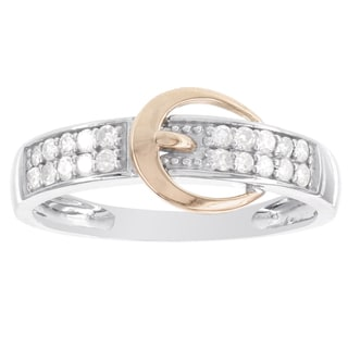 H Star Sterling Silver and 10k Rose Gold 1/5ct TDW Diamond Buckle Ring (H-I, I1-I2)