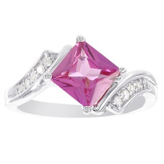 H Star Sterling Silver Princess-cut Created Pink Sapphire and Diamond Accent Ring (I-J, I2-I3)