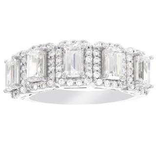 H Star Sterling Silver Emerald-cut Diamagem Fashion Ring