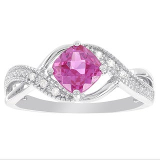 H Star Sterling Silver Cushion-cut Created Pink Sapphire and Diamond Accent Ring (I-J, I2-I3)
