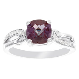 H Star Sterling Silver Cushion-cut Created Alexandrite and Diamond Accent Ring (I-J, I2-I3)