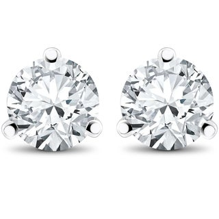 14k White, Yellow, or Rose Gold 1 1/2 ct TDW Diamond 3-Prong Martni Studs (F-G,SI-SI2)