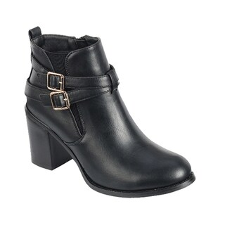 Forever GE10 Women's Chelsea Style Black/Brown Faux-leather Ankle Booties