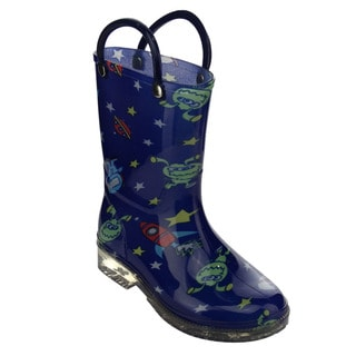 Jelly Beans Kids' Unisex GE00 Unisex Blue PVC Alien-pattern Pull-handle Mid-calf Rainboots