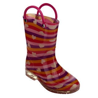 Jelly Beans Girls' GE04 Multicolor Rubber Stripe Pattern Pull-on Mid-calf Rain Boots