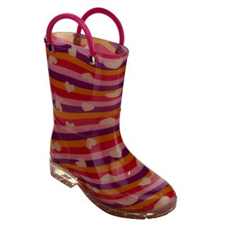 Jelly Beans GE05 Toddlers Girl's Pull-on Low-heel Mid-Calf Colorful Rainy Boots