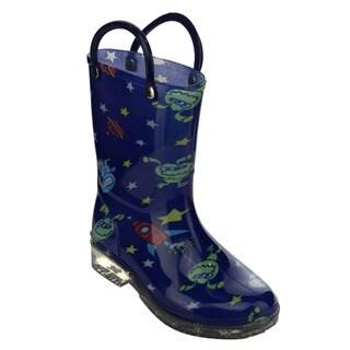 Jelly Beans Children's Blue Alien Pattern PVC Mid-calf Pull-on Rain Boots