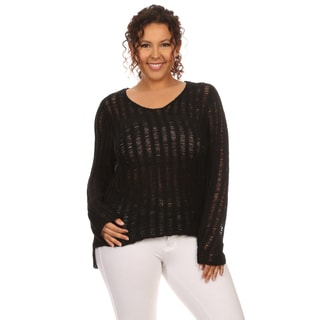 Hadari Women's Long Sleeve Scoop Neck Sweater