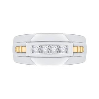 14k Two-tone Gold 1/4ct TDW Diamond Fashion Men's Ring (G-H, I2)