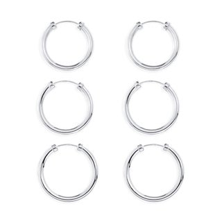 Sterling Silver 3-pair Capped Hoop Earrings Set