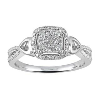 Rhodium-plated Sterling Silver Diamond Fashion Ring (I-J,I2-I3)