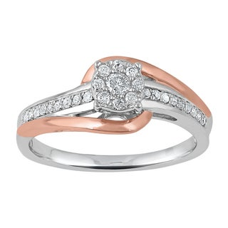 Two-tone Rose Gold over Sterling Silver 1/4ct TDW Diamond Twist Fashion Ring (I-J,I2-I3)