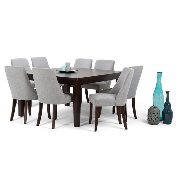 WYNDENHALL Haley Contemporary 9 Pc Dining Set with 8 Upholstered Dining Chairs and 54 inch Wide Table