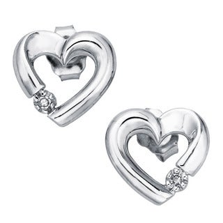 10k White Gold Diamond Accent Heart Stud Earrings By Ever One
