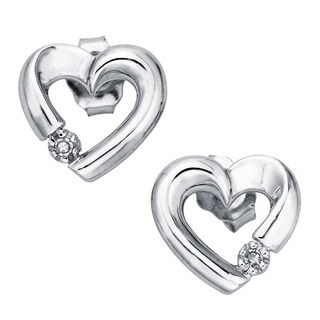 10k White Gold Diamond Accent Heart Stud Earrings