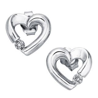 10k White Gold Diamond Accent Heart Stud Earrings By Ever One|https://ak1.ostkcdn.com/images/products/12507761/P19315030.jpg?impolicy=medium