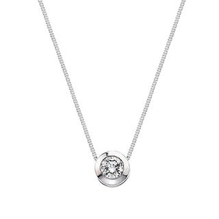 10k White Gold Diamond Accent Solitaire Pendant Necklace By Ever One