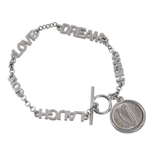 American Coin Treasures Silver Metal Irish Threepence Coin Toggle Bracelet
