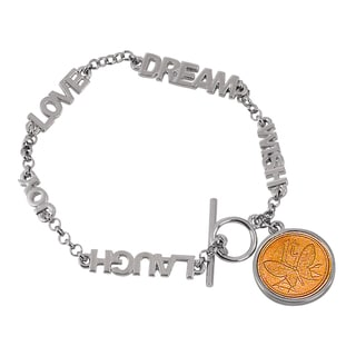 American Coin Treasures Silver Metal Inspirational Butterfly Coin Toggle Bracelet