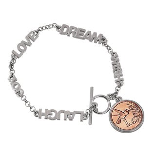 American Coin Treasures Inspirational 'Dream, Wish, Love, Laugh, Joy' Hummingbird Coin Toggle Bracelet