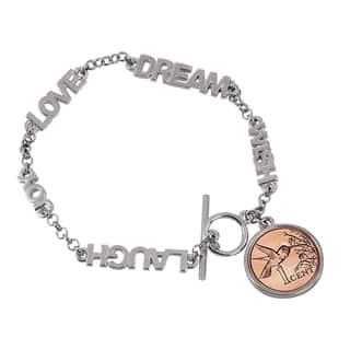American Coin Treasures Inspirational 'Dream, Wish, Love, Laugh, Joy' Hummingbird Coin Toggle Bracelet|https://ak1.ostkcdn.com/images/products/12507801/P19315045.jpg?impolicy=medium