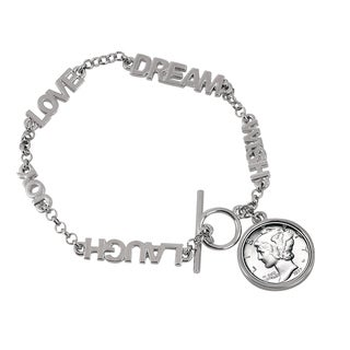 American Coin Treasures 'Dream, Wish, Love, Laugh' Silver Mercury Dime Inspirational Coin Bracelet