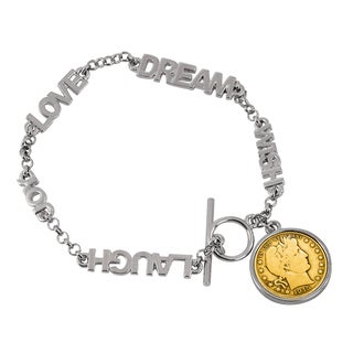 American Coin Treasures Gold-layered Silver Barber Dime Inspirational 'Dream, Wish, Love, Laugh, Joy' Coin Bracelet