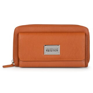 Kenneth Cole Reaction Women's Faux Leather Trifold Zippered Wallet (Option: Tan)