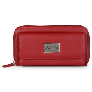 Kenneth Cole Reaction Women's Faux Leather Trifold Zippered Wallet (Option: Red)