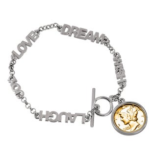 American Coin Treasures Gold-layered Silver Mercury Dime Inspirational 'Dream Wish Love Laugh Joy' Coin Bracelet