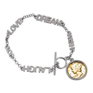 American Coin Treasures Gold-layered Silver Mercury Dime Inspirational 'Dream Wish Love Laugh Joy' Coin Bracelet