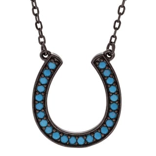 Journee Collection Sterling Silver Turquoise Horseshoe Pendant Necklace