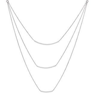 Journee Collection Sterling Silver 3 Bar Necklace