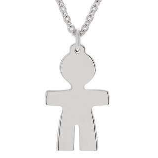 Journee Collection Sterling Silver Boy Charm Pendant Necklace